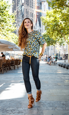 get ready: Get ready to exciting weekend at Barcelona. Smiling woman tourist Stock Photo