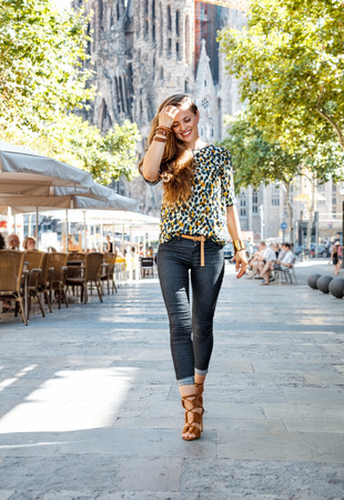 get ready: Get ready to exciting weekend at Barcelona. Happy woman tourist Stock Photo