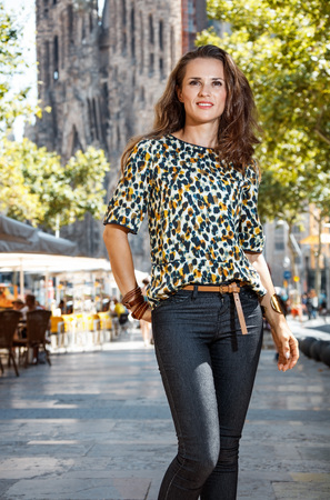 catalunia: Get ready to exciting weekend at Barcelona. Young woman sightseeing Barcelona