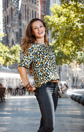 catalunia: Get ready to exciting weekend at Barcelona. Portrait of happy woman sightseeing Barcelona