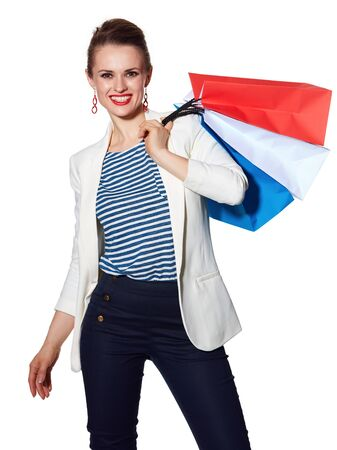 the french way: Shopping. The French way. Portrait of happy young woman with French flag colours shopping bags on white background