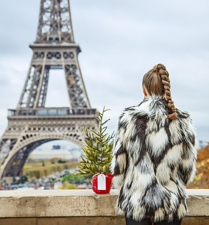 The Party Season in Paris. Seen from behind modern fashion-monger with Christmas tree in fur coat in the front of Eiffel tower in Paris, France
