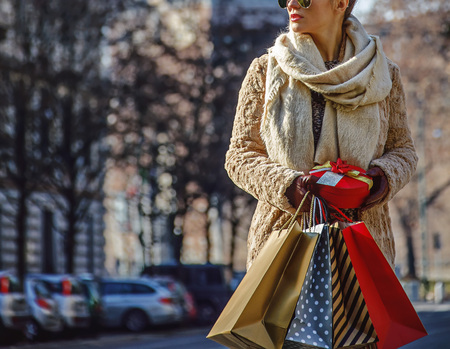 sforza: Rediscovering things everybody love in Milan. elegant tourist woman with shopping bags and Christmas gift near Sforza Castle in Milan, Italy looking aside