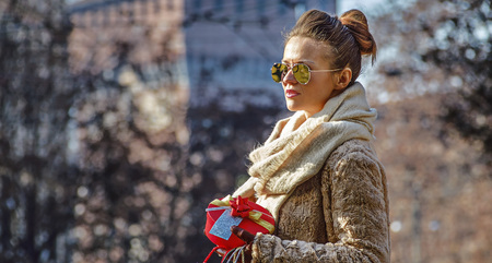 sforza: Rediscovering things everybody love in Milan. young woman with shopping bags and Christmas gift near Sforza Castle in Milan, Italy looking into the distance Stock Photo