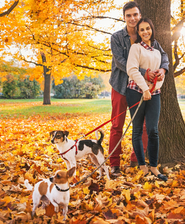 Portrait of young couple with two little dogs on walk in park on autumn day photo