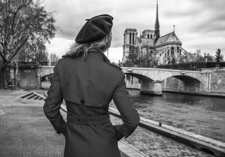 Bright in Paris. Seen from behind trendy traveller woman in red trench coat on embankment looking at Notre Dame de Paris in Paris, France