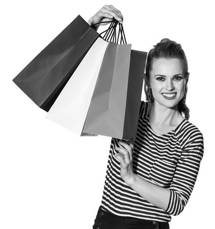 Einkaufen. Die Französisch Art und Weise. Portrait der modernen Frau mit Einkaufstüten von den Farben der Flagge Französisch isoliert auf weißes Standard-Bild - 78969177