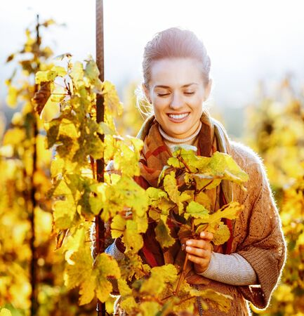 Happy young woman standing in autumn vineyard and looking on branch