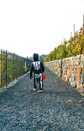Trick or Treat. Seen from behind girl wearing skeleton costume on Halloween outdoors with pumpkin Jack O'Lantern basket
