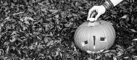 Trick or Treat. Closeup on young woman on Halloween at the park putting candle in carved Halloween pumpkin Jack O'Lantern Stock Photo