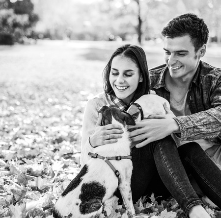 Portrait of happy young couple sitting outdoors in autumn park and playing with dogs