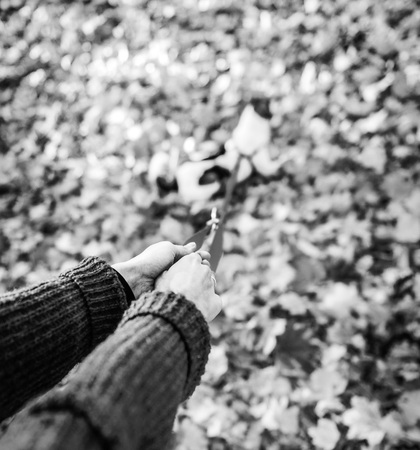 Closeup on young woman holding dog on leash outdoors in autumn