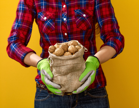 Healthy food to your table. Closeup on modern woman farmer in checkered shirt on yellow background showing walnut