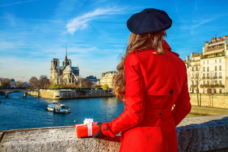 Seen from behind trendy tourist woman in red trench coat on embankment near Notre Dame de Paris in Paris, France with Christmas present box Stock Photo