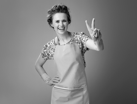 Big cleaning time. smiling modern woman in a apron showing victory gesture on background Stock Photo