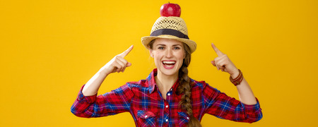 Healthy food to your table. happy young woman grower in checkered shirt isolated on yellow pointing on apple on head 写真素材