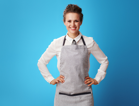 Portrait of happy young cleaning lady in apron against blue background. Is it easy to become a professional housekeeper? confident smile and uniforms are just the beginning Stock fotó