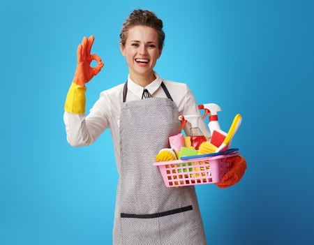 smiling young housemaid in apron with a basket with detergents and brushes showing ok gesture isolated on blue. woman cleaner custom cleaning service representative