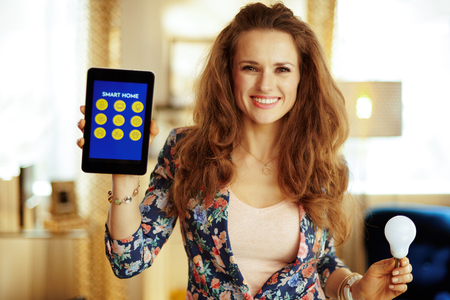 Portrait of smiling young housewife with long brunette hair showing tablet PC with smart home application and smart lamp in the modern living room.