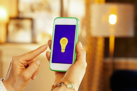 Closeup on smartphone with smart home application controlling smart lamps in hands of modern housewife and lamp in background in the living room.
