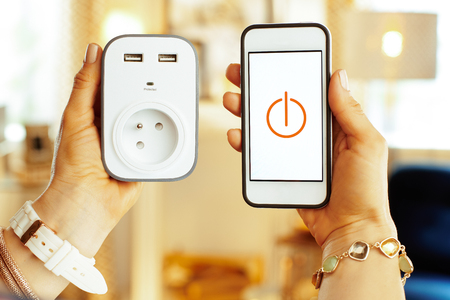Closeup on smartphone with smart home app and wifi smart plug in hands of modern woman in the house.