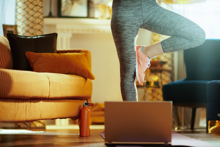 Closeup on fit sports woman in sport clothes in the modern house using online personal fitness trainer service in laptop and stretching. Stock Photo
