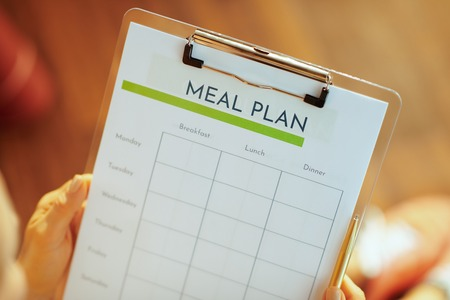 Closeup on female hands holding clipboard with meal plan in the modern living room.