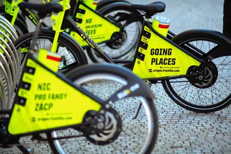 Prague - April, 15, 2019: dockless electric bikes at the Republic Square in Prague Czech Republic.