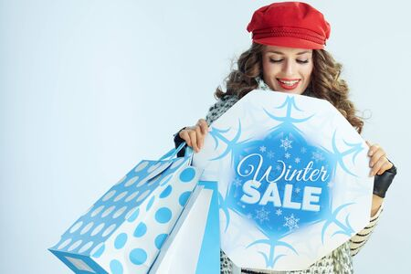 smiling modern woman with long brunette hair in sweater, scarf and red hat with shopping bags looking at winter sale banner on winter light blue background.