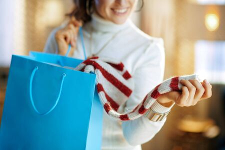 Closeup on smiling stylish woman in white sweater and skirt with blue shopping bag checking purchased sweater at modern home in sunny winter day. Reklamní fotografie