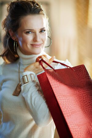 Portrait of elegant female in white sweater and skirt with red shopping bag in the modern house in sunny winter day. Stockfoto - 140598984