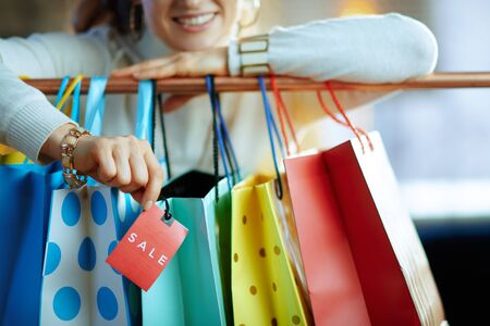 Closeup on smiling stylish 40 years old woman in white sweater and skirt near colorful shopping bags hanging on copper clothes rail showing red sale price tag. Banque d'images