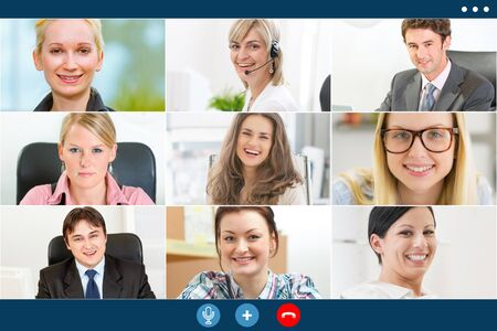 group video call screen of business colleagues working remotely. Stock Photo