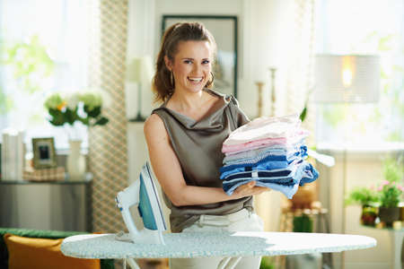 Closeup on happy woman in silk blouse and beige pants with steam iron, ironing board, pile of folded ironed clothes and gold goblet at home in sunny day. Stockfoto