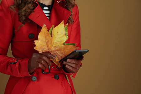 Hello september. Closeup on middle aged woman with leather gloves and yellow autumn maple leaves on beige background.