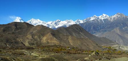 tibetian: Panoramic veiw of the Himalayan Mountains and Dhaulagiri mount after Thorong La pass, Muktinath, Nepal.