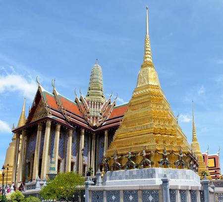 Panoramic view of the Prasat Phra Thep Bidon and the Golden Chedi in Wat Phra Kaew Complex. Bangkok, Thailand.