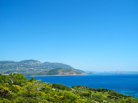 Beautiful view of the Mediterranean seashore. The Lycian Way trekking near Patara, Turkey.