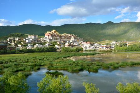tibetian: Beautiful view of the Ganden Sumtseling Monastery in Shangri-la County, China Editorial