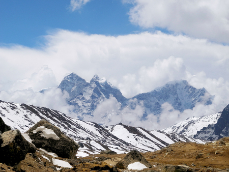 View of the Himalayan mountains on the trek to Everest base camp, Nepal