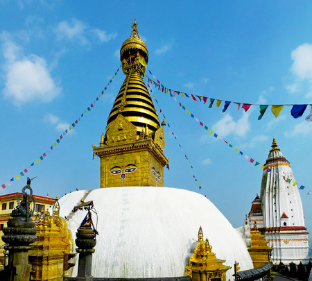 tibetian: Swayambhunath - ancient Buddhist temple on the top of the hill in Kathmandu, Nepal