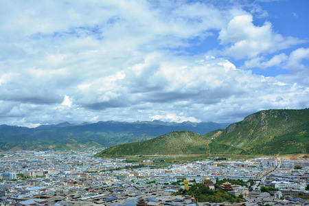 Beautiful view of the Shangri-La city from the top of the hill. Tibet, China.