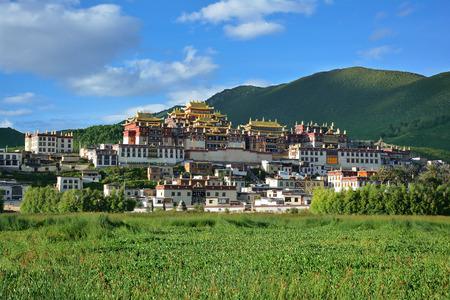 Beautiful view of the Ganden Sumtseling Tibetian Temple in Zhongdian (Shangri-La), China.