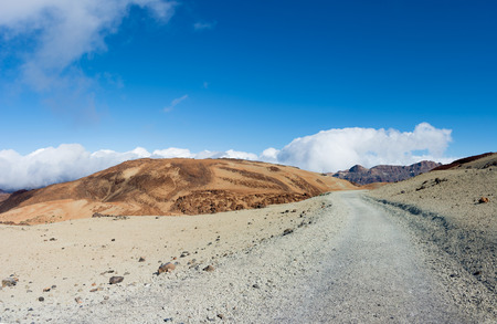 Beautiful panoramic view of the footpath from Teide Mount. Tenerife Island, Canary. Banque d'images