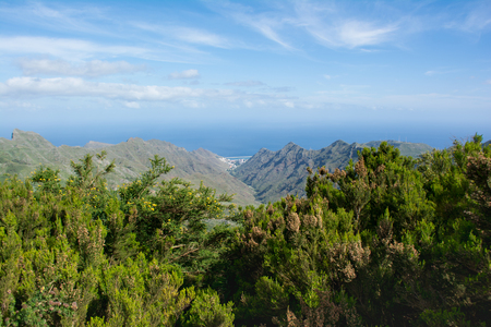 View of the Roques de Anaga in Parque Rural Anaga. Tenerife, Canary Islands. Stock Photo
