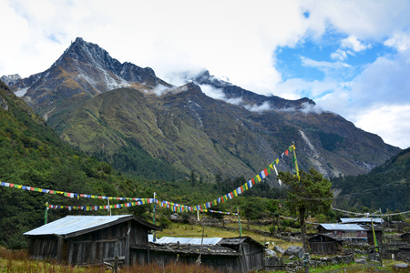 View of the tibetian village Phole (Phere) on the way to Kangchenjunga  Nepal. Himalayan Mountains on the background.