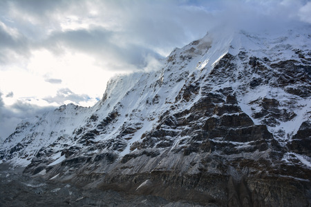 Beautiful view of the Himalayan Mountains in the early morning. Trek to Kangchenjunga basecamp, Nepal