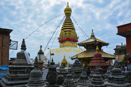 Swayambhunath Stupa - ancient Buddhist temple on the top of the hill in Kathmandu, Nepal Stock fotó