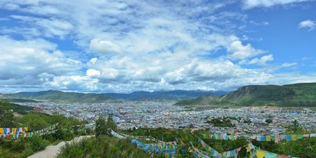 ZHONGDIAN, CHINA - AUG 29, 2016: Panoramic view of Shangri-La (Zhongdian) city, Yunnan province, China Stock fotó