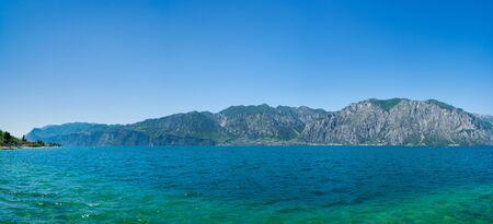 Beautiful panoramic view of Lake Garda, Italy. View of Limone Sul Garda resort city, Italy.